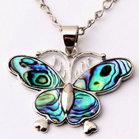 abalone butterfly pendant - New Fashion Charm Butterfly Natural Abalone Shell Splicing Pendant Accessories Silver Plated European Fashion Jewelry Amulet