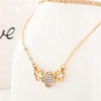 Cheap four-leaf flower full Best diamond necklace short