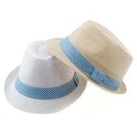 Unisex Summer Crochet Hats Striped ribbon decoration 2 colors Kids Straw Hat Baby Summer Straw Cowboy Hat Boys Girls Straw Fedoras Baby Strawhat 10pcs