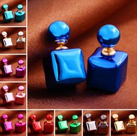 Wholesale Candy color women pearl Ball Earring Stud