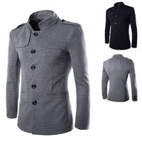 Wholesale Chinese Men Blazer - 2015 New men blazers high quality autumn winter fashion stand collar coats casual Chinese tunic suit jacket mens clothing