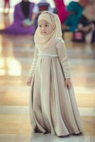 abaya for girls - Muslim Flower Girl Dresses High Neck Long Sleeve Beads A Line Pageant Dresses For Wedding Back Zipper Arabic Abaya baby girl party dresses