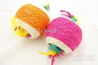 Wholesale 120pcs Cute Cotton Ball Design Toy Collection for Cat Kitty Pet Color Assorted