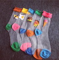 beautiful ankles - 24pcs pair NEW women girl sexy beautiful cool crystal glass silk food bread pizza ice cream egg summer sport socks pair