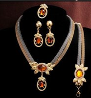 Wholesale Luxury Wedding Crystal Metal Necklace Earring Bracelet Gold Plated Bridal Jewelry Sets Brand New Good Quality