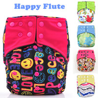 Wholesale Happy Flute AIO Cloth Diaper With a Insert Sewn Inside Reusable Baby Diapers One Size Fit All Baby Nappies Bamboo Charcoal Couche Lavable