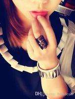 2016 Moda anillos Acessórios de Jóias anel feminino Ouro Preto Recorte de Renda Flor Anel Anéis de Dedo para as mulheres bague femme frete grátis