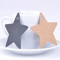 Wholesale 100pcs set Cute Star Design Wedding Gift Bookmark Label Blank Lage Tags Kraft Paper Random Color X60 JJ0291W S1