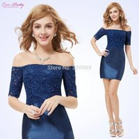 Wholesale Fast Shipping Ever Pretty HE05229SB Women s Fashion Boat Neck Short Sleeve Blue Lace Cocktail Dress