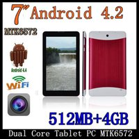 Wholesale 7 Inch MTK6572 Dual Core G Phablet Android GSM G Phone Calling GPS Bluetooth Dual Camera Tablet PC With Case Bluetooth Six color