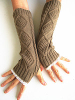 Wholesale 2016 Lady Knitted Fingerless gloves women hand Warmer long arm Gloves with lace colors solid color pairs