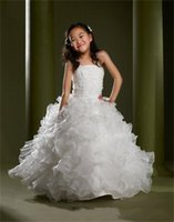 Wholesale Fashion White Ball Gown Flower Girl Dresses Spaghetti ruffled organza flower Girl Dresses Appliques princess Formal Pageant Girl Dresses GXF