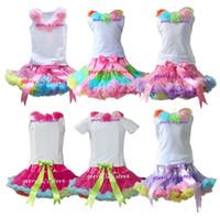 Spring / Autumn pettiskirt set - Retail SET Girls Tutu Skirt Children Baby Rainbow Soft Chiffon Pettiskirt And Matching Flower White Tops Set