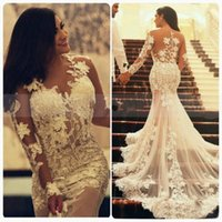 Cheap 2016 Sexy Mermaid Lace Wedding Dresses with Long Sleeves Crew Neck Appliques Ruffles Vintage Arabic Wedding Party Gowns Aso Ebi Style