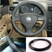 Wholesale New Genuine Leather Steering Wheel Cover With Needles Thread DIY car steering covers cm Diameter BLACK