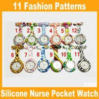 Wholesale Hot Silicone Nurse Pocket Watch Candy Colors Zebra Leopard Prints Soft band brooch FOB Nurse Watch patterns SB