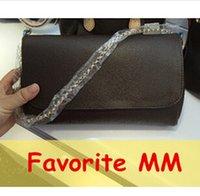 Wholesale Top quality women genuine Leather Favorite MM PM clutch handbag Pochette shoulder bag tote purse