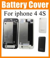 achat en gros de boîtiers cellule-Boîtiers de téléphone cellulaire pour iphone 4 4G iphone 4s partie Back Cover Battery Door Housing cas de remplacement iphone SNP001 Noir Blanc de haute qualité