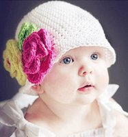 baby boy unique gifts - Sweet unique days baby crochet beanie Nine colors photography hat with flower softer cotton warmer caps elegant gift