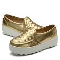 creepers - new women flats shoes gold and silver fashion casual genuine leather women shoes creepers platform shoes