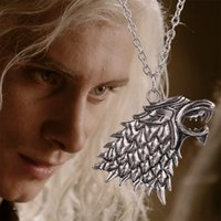 american songs - Pendant Necklaces Chain Jewelry Silver Plated Game of Thrones Stark Direwolf Charm Vintage Silver Inspired Necklace A Song of Ice and Fire