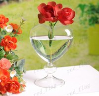 Wholesale Fashion heart glass vase home decoration flower vase desktop vase decor home decor vase glass planter LLFA16F