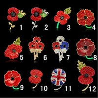 Wholesale Statement Jewelry Princess Kate British Bouquet Crystal Poppy Red Flower Brooch With Pin For Remembrance Day