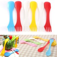 Wholesale 6Pcs Colorful Plastic Camping Hiking Sporks Outdoor Pinic Spoon Knife Forks Portable Travel Cutlery Utensils