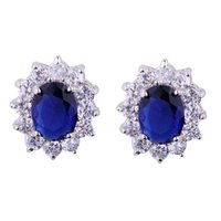 best blue sapphire - Best Christmas gift Princess Diana Jewellery sapphire K White gold filled Stud Earrings