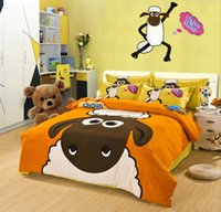 Wholesale Shawn the Sheep Cartoon Bedding Set for Kids Suede Cotton Think Brushed Warm Duvet Cover Set PC Set for Twin Queen King Bed