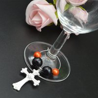 Wholesale 48pcs Wedding Christmas Party Wineglass Beads Ring Ornament With Cross Beverage Bottle Chain Charm Tabel Ornament wj004
