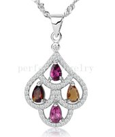 Wholesale Tourmaline necklace pendant Natural real tourmaline sterling silver plated k white gold Perfect jewerly DH