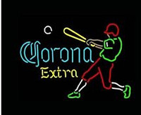 baseball beer game - Corona Extra Baseball Player Neon Sign Commercial Custom Handmade Beer Bar Club Pub Game Room Sport Display Real Glass Neon Signs quot X14 quot