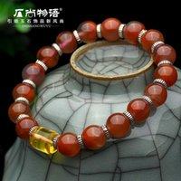 amber barrel - Story genuine stone still Liangshan South onyx bracelet female Amber barrel bead bracelets sterling silver jewelry accessories