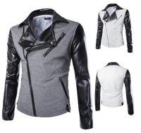 achat en gros de manchette zipper-Hommes Blazer Suit plus inclinée fermeture à glissière conception de la couleur assortie couleur patchwork PU manches longues entaillée manteau Blazer Livraison gratuite X01