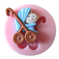 Wholesale 1Pcs Lovely Baby Fondant Mould Baby Stroller Silicone Mold Cake Decorating Tools Soap Mold FM088