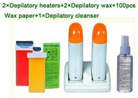 wax pot - 2015 no no hair in one set roller depilatory wax heater portable wax pot heater Hair Removal Wax depilatory cleanser waxed paper as hair