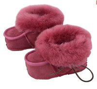 Wholesale Natural wool genuine leather Baby snow boots