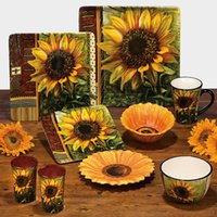 american dishes - Ceramic fashion rustic american sunflower decoration plate hanging plate western dish mug bowl
