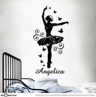 ballerina art - Custom name ballerina ballet dancer wall sticker vinly decal for girls room removable wall art home sticker
