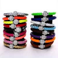 magnetic beads - Shamballa Clasp Magnetic Rhinestone Charm PU Leather Stardust Bracelets CZ Disco Crystal Braided Wrap Wristband Beads Mix Color Factory DHL