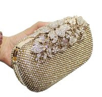 Wholesale Hot Selling women s bags Europe and the United States boutique evening bag filled with drill hand bag handbag aglet party classic black gold