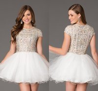 Wholesale 2015 Luxury Short Homecoming Dresses With Sleeve High Neck Tulle Cheap Tulle Crystal Top Short White Prom Dress Charming Cocktail Gala Gowns
