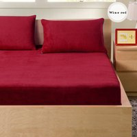 Wholesale colors High quality Winter Warm pure color Farley velvet fitted bed sheet Thickening of coral fleece mattress covers