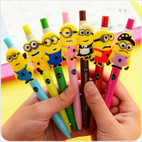 Wholesale 7 Styles Novelty Cartoon Writing Pen Despicable Me Sign Gel Pen Needle Bling Roller Pen Minion Creative Stationery Children s Toy Study