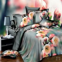 beautiful quilt covers - Beautiful Pink flowers grey duvet quilt covers bed comforters bedding sets bedclothes linen sheet for queen size pillowcase