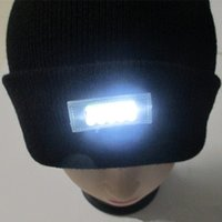 acrylic beanie - 5 LED lighted Cap Hat Winter Warm Beanie Angling Hunting Camping Running Black LED Hat