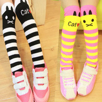 Wholesale Cute Korean Cartoon Cat Stripe Cotton Children Socks Baby Socks Girls Stockings