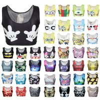 Wholesale Free DHL styles Short body building Print Crop Top Small Tank Tops Digital Printing Women Sports Sexy Vests Yoga clothes