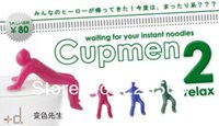 Cheap Wholesale-Free shipping 5piece lot Cupmen 2 Relax Instant Noodle Figure Set Instant Ramen Readiness Indicator